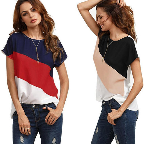 Fashion Women Female Blouse Shirts Color Block Chiffon Short Sleeve Casual Spring Summer Blouse Shirts Tunic Tops For Women P45X - Joelinks store