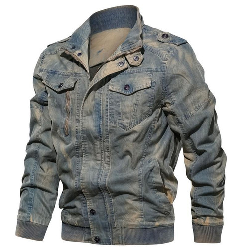 New spring and autumn men's jacket retro casual cotton jacket large size coat denim - Joelinks store