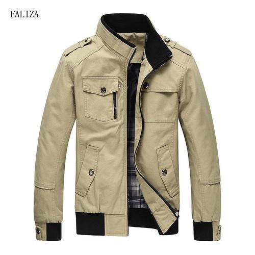 FALIZA New Casual Men Jackets Spring Autumn Bomber Jacket Men Windbreaker Jacket Mens Jackets and Coats Casacos Masculino JK101 - Joelinks store