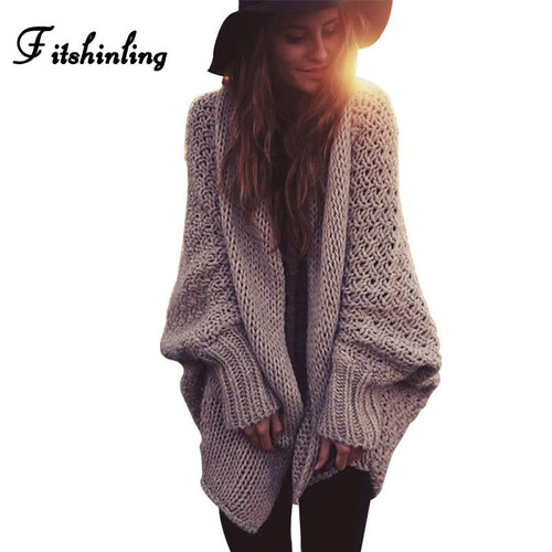 Fitshinling BOHO Winter cardigans for women oversize batwing sleeve sweaters long cardigan female knitted clothes khaki jackets - Joelinks store