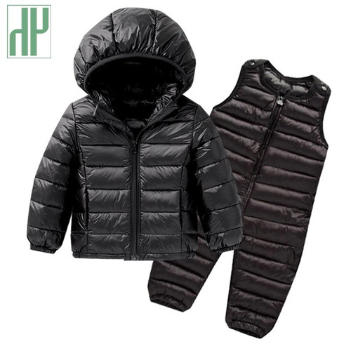 Kids winter clothes Sets Down Jacket 2 pcs Hooded Coat+overalls Baby Boys Girls Warm Parkas Children Outerwear toddler outfits - Joelinks store