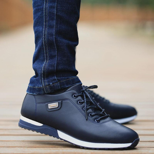 Men's Leather Business Casual Shoes for Man Outdoor Breathable Sneakers Male Fashion Loafers Walking Footwear Tenis - Joelinks store