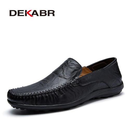 DEKABR Soft Leather Men Loafers New Handmade Casual Shoes Men Moccasins For Men Split Leather Flat Shoes - Joelinks store