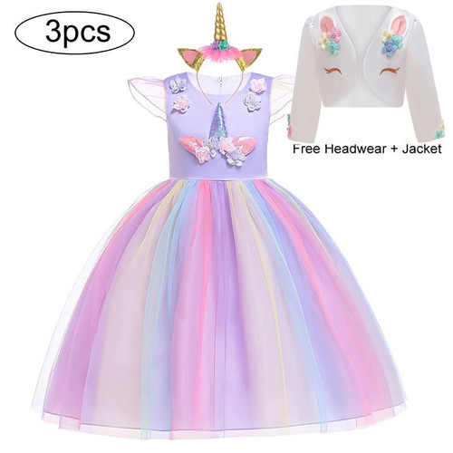 Unicorn Party Dress Kids Dresses For Girls Elsa Costume Girls Dress Children Girls Princess Dress Baby Christmas New Year Dress - Joelinks store