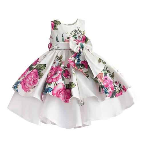 baby girls princess dress floral print wedding party dresses children clothes robe fille vetement enfant fille 2-7T - Joelinks store