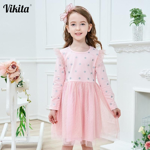 VIKITA Brand New Children Princess Dress Girls Star Tutu Dresses Baby Girl Long Sleeve Clothes Kids Party Dresses for Girls - Joelinks store