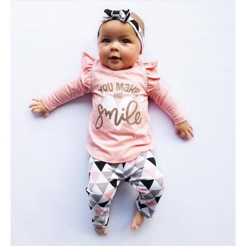 Baby Girl Clothes Set 2019 Autumn 3pcs Set Cotton T-shirt Pants Headband fall Infant Clothes Newborn Baby Girl Clothing Set - Joelinks store
