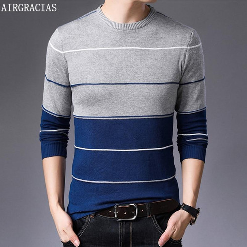 AIRGRACIAS 2019 New Sweater Men Fashion Brand Pullover Striped Slim Fit Knitred Woolen Autumn Casual Men Clothes pull hombre - Joelinks store