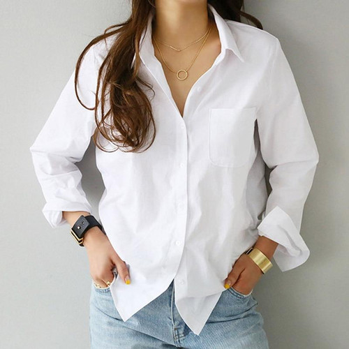 2020 Spring One Pocket Women White Shirt Female Blouse Tops Long Sleeve Casual Turn-down Collar OL Style Women Loose Blouses - Joelinks store