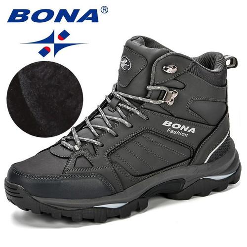 BONA Men Boots Anti-Skidding Leather Shoes Men Popular Comfy Spring Autumn Men Shoes Short Plush Snow Boots Durable Outsole - Joelinks store