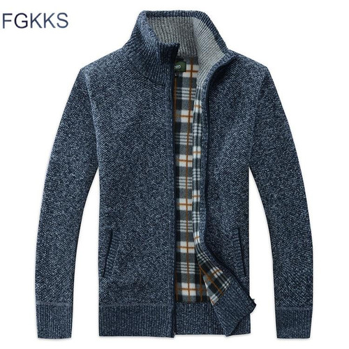 FGKKS Men's Casual Sweater Coats Winter Fashion Brand Mens Cardigan High Collar Pockets Knit Outwear Coat Sweater Male - Joelinks store