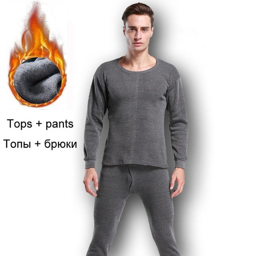 Thermal Underwear Sets For Men Winter Thermo Underwear Long Johns Winter Clothes Men Thick Thermal Clothing Solid Drop Shipping - Joelinks store