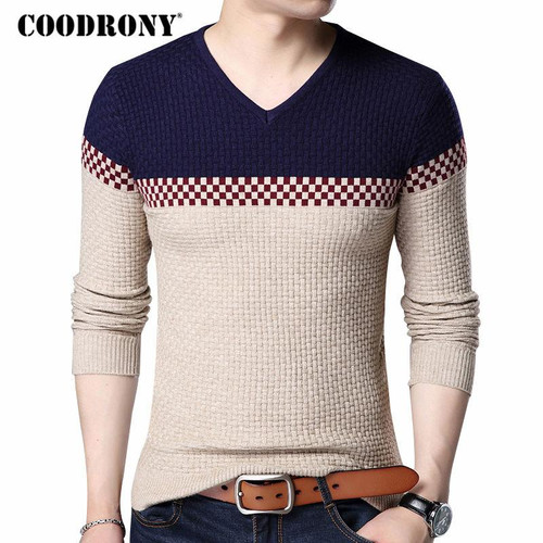 COODRONY 2020 Autumn Winter Warm Wool Sweaters Casual Hit Color Patchwork V-neck Pullover Men Brand Slim Fit Cotton Sweater 7155 - Joelinks store