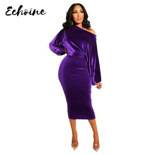 Women New 2020 Spring Winter Off Shoulder Long Sleeve High Waist Velvet Bodycon Dress Office Lady Pencil Party Dresses 5 Colors - Joelinks store