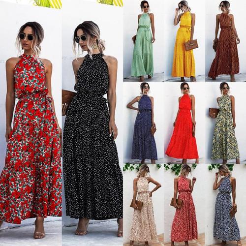 Summer Elegant Sexy beach long Dress Women 2020 Fashion Print Flowers Polka-dot strap Ladies Halter boho dress women vestidos - Joelinks store