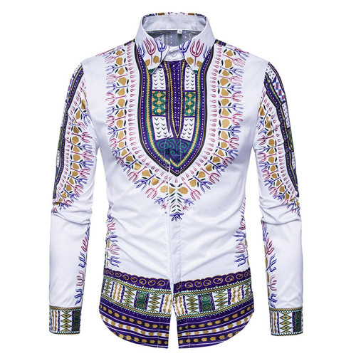 Ethnic Style Dashiki Print Long Sleeve Shirt - Joelinks store