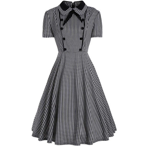 Plus Size Plaid A Line Midi Dress - Joelinks store