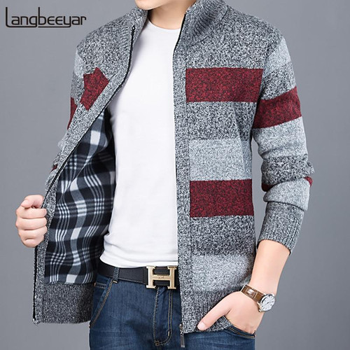 2020 Thick New Fashion Brand Sweater For Mens Cardigan Slim Fit Jumpers Knitwear Warm Autumn Korean Style Casual Clothing Male - Joelinks store