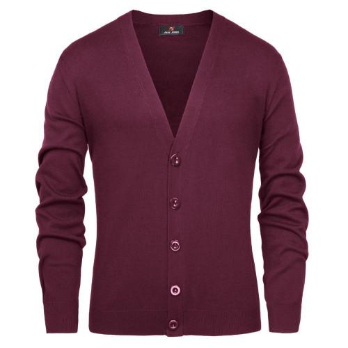 PJ Men knitwear sweatercoat Stylish Long Sleeve V-Neck Button-Placket Knitting  Knitwear malt Cardigan - Joelinks store