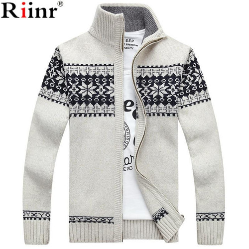 Riinr 2019 New Arrivals Casual Sweater Men Striped Christmas Sweater Windbreaker Warm Fashion Cardigan Men Sweaters - Joelinks store