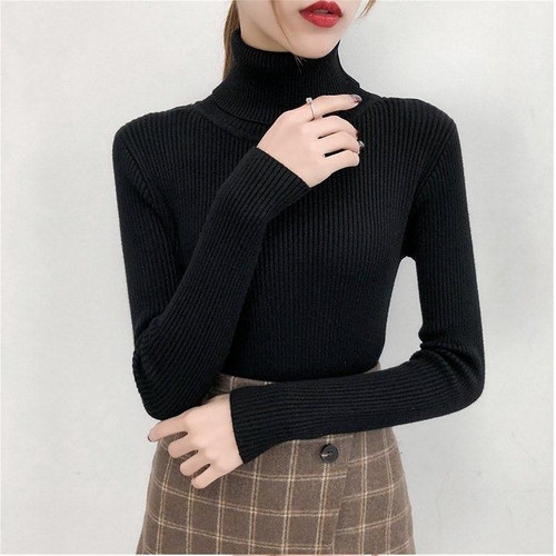 Bonjean Knitted Jumper Autumn Winter Tops turtleneck Pullovers Casual Sweaters Women Shirt Long Sleeve Short Tight Sweater Girls - Joelinks store