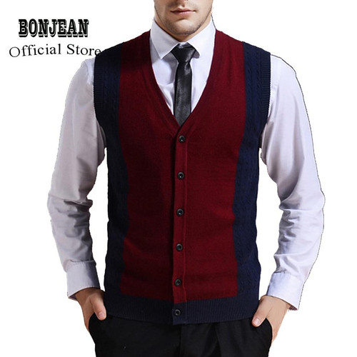 Sweater Cardigan Buttons Down Knit Jacket Vest for Men Sleeveless Wool Stylish Fashion Patchwork Red Grey 2018 - Joelinks store
