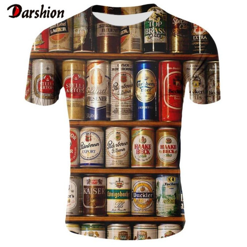 New arrive Novelty Fashion 3D Tshirt Men Cans of Beer Printed Hip Hop Crewneck Short Sleeve Men/Women T-shirt Tee Tops Wholesale - Joelinks store