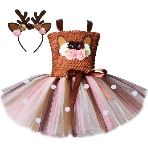 Flower Deer Tutu Dress Tulle Baby Girls Christmas Birthday Party Dress Kids Halloween Reindeer Elk Cosplay Costume with Headband - Joelinks store