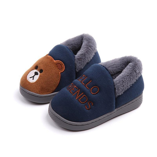 Home slippers for children  Cute Cartoon bear slipper animal shoe warm non-slip soft bottom slippers boys and grils baby - Joelinks store