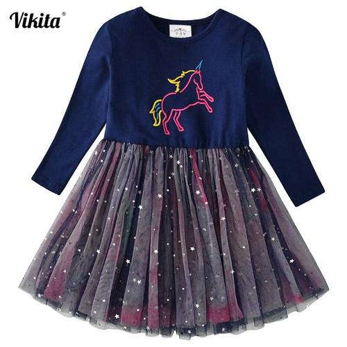 VIKITA Girls Unicorn Dress Princess Tutu Dress for Girls Children Birthday Party Licorne Vestidos Kids Autumn Winter Dresses - Joelinks store