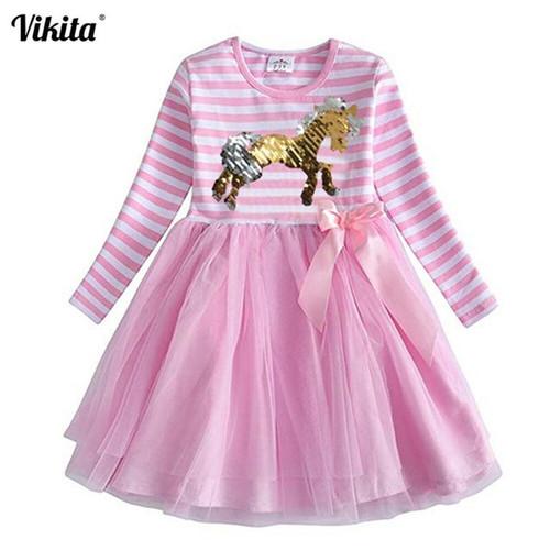 VIKITA Girl Flower Dresses Children Clothing Kids Princess Dress Girls Floral Vestidos Long Sleeve Casual Dresses for Autumn - Joelinks store