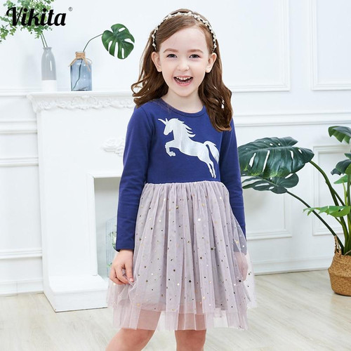 VIKITA Brand Girls Unicorn Dress Girls Sequined Vestidos Kids Party Casual Tutu Dress Children Licorne Autumn and Winter Dresses - Joelinks store