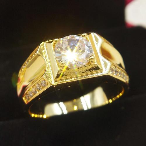 Size 7-12 Classic Gold-color Rhinestone Cubic Zirconia Men Ring Black Enamel Male 18 KRGP Finger Rings Best Selling - Joelinks store