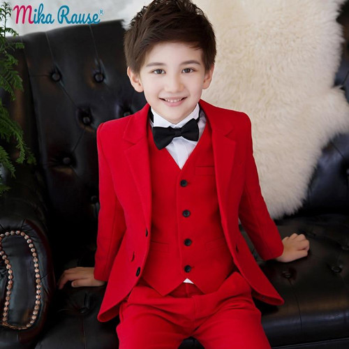 boy suits for weddings children's Red formal suit jacket boy blazers sets kids party clothes tuxedo teenager uniform - Joelinks store