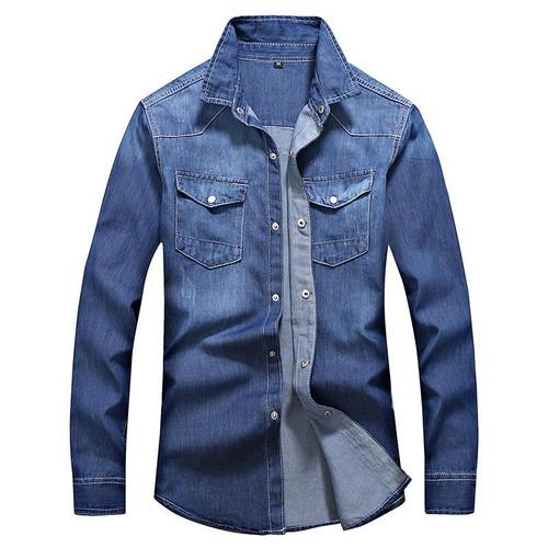 MEN'S Wear Clothes New Style MEN'S Shirts Trendy Pure Color Denim Shirt Men's Casual MEN'S Shirt Slim Fit Teenager - Joelinks store