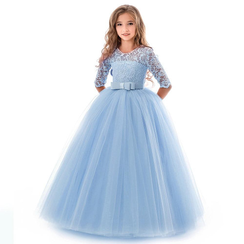 Teenager Costume Girls Dress Party Princess Baby Girls clothes Kids Lace Wedding Dresses for First feast elegant Prom Dress - Joelinks store