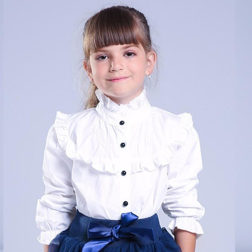 Girl Ruffled Shirt Kids White Clothes Teenager Slim Waist Blouse Fashion Infant Tops School Uniforms Shirts Long-Sleeve Clothing - Joelinks store
