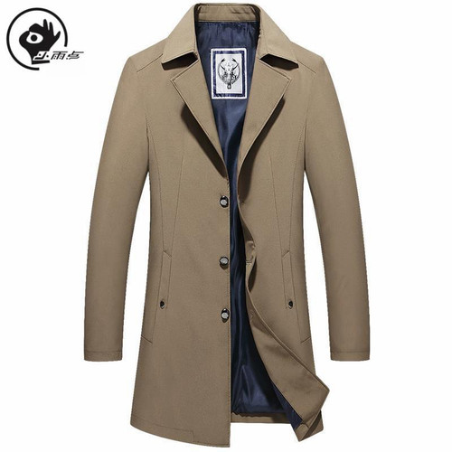 XiaoYudian Mens Trench Coats British Style Solid Long Coat Vintage Men Fall Long Coats Double Collar Jackets oversize trench man - Joelinks store