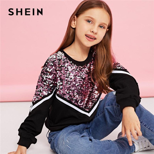 SHEIN Kiddie Contrast Sequin Casual Pullover Sweatshirts For Girls Tops 2019 Spring Korean Long Sleeve Kids Teenager Clothes - Joelinks store