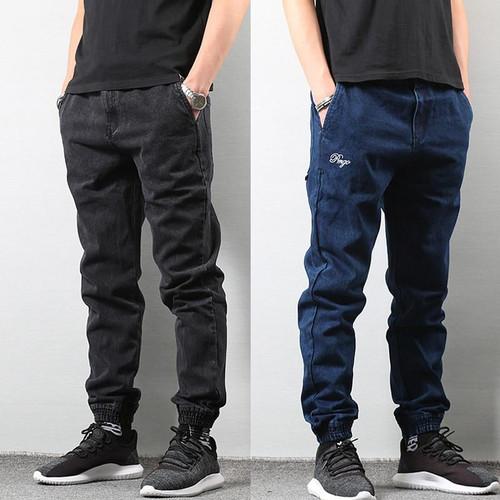 Japanese Style Fashion Men's Jogger Jeans Black Blue Color Streetwear Punk Pants Hip Hop Jeans Men Slim Fit Cargo Pants Homme - Joelinks store