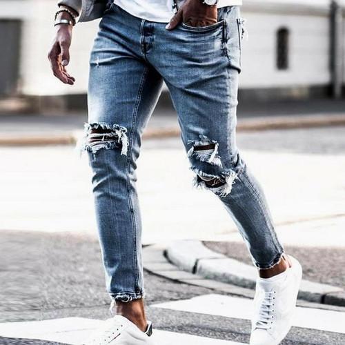 New Skinny Jeans men Streetwear Destroyed Ripped Jeans Homme Hip Hop Broken modis male Pencil Biker Embroidery Patch Pants - Joelinks store