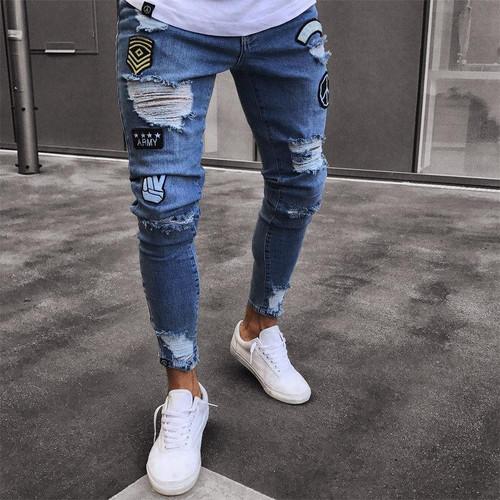 Men Ripped Skinny Biker Jeans Destroyed Frayed Print Embroidery Slim Fit Denim Pant Jean Denim Trousers - Joelinks store