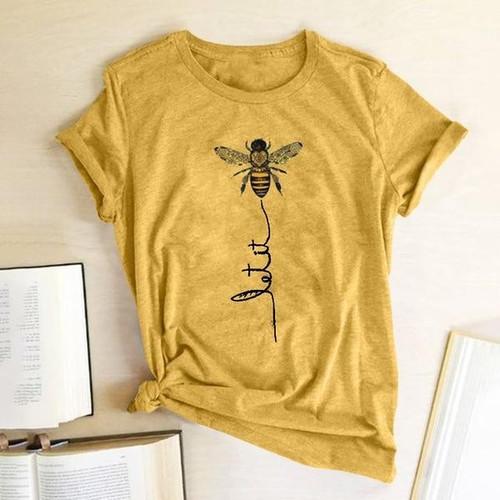 Hillbilly Women Bee Kind T-shirt Aesthetics Graphic Short Sleeve Cotton Polyester T Shirts Female Camisetas Verano Mujer 2019 - Joelinks store