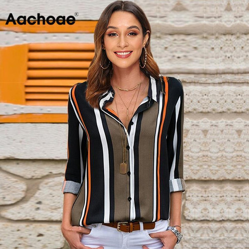 Blouses Women 2020 Leisure Long Sleeve Striped Shirt Turn Down Collar Lady Office Shirt Autumn Blouse Top Blusas Mujer Plus Size - Joelinks store