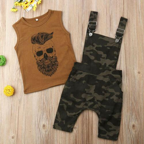 Summer Toddler Baby Boys Two Piece Casual Clothes Sleeveless Printing Tank Top Vest Camo Overalls Outfits Set - Joelinks store