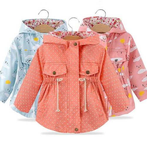 Spring Autumn Girls Casual Jackets hooded Outerwear Fashion Printing Candy Color Windbreaker Children Clothing Cute Girls Coat - Joelinks store