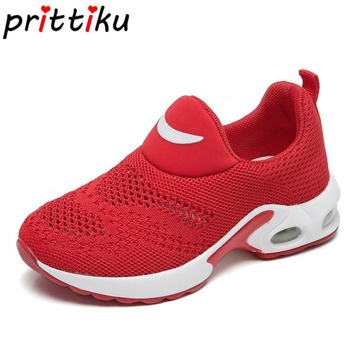 Summer 2018 Toddler Boy Girl Knitted Air Cushion Sneakers Little Kid Red Black Slip On Trainers Big Children Casual School Shoes - Joelinks store