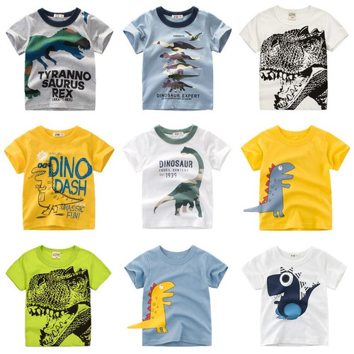Boys & Girls Cartoon T-shirts Kids Dinosaur Print T Shirt For Boys Children Summer Short Sleeve T-shirt Cotton Tops Clothing - Joelinks store