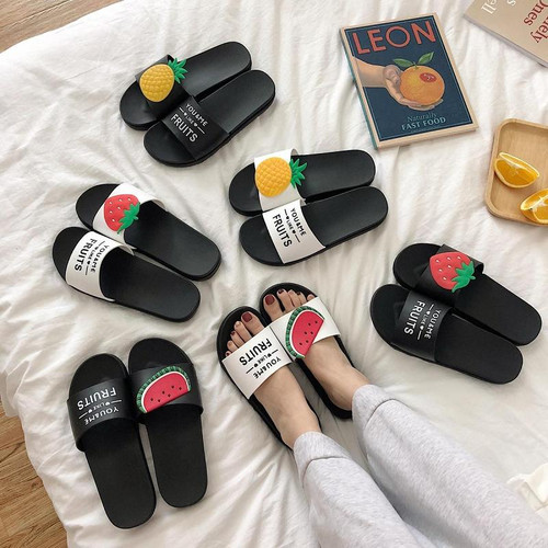 Women's Fruit Slippers Summer Beach Flat Sandals Female Slippers Ladies Fashion Lovely Cute Bathroom Home Slippers - Joelinks store