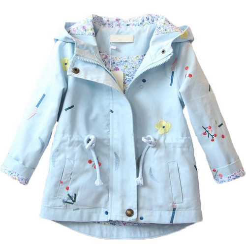 2019 New Spring Autumn Girls Windbreaker Coat Baby Kids Flower Embroidery Hooded Outwear Baby Kids Coats Jacket Clothing